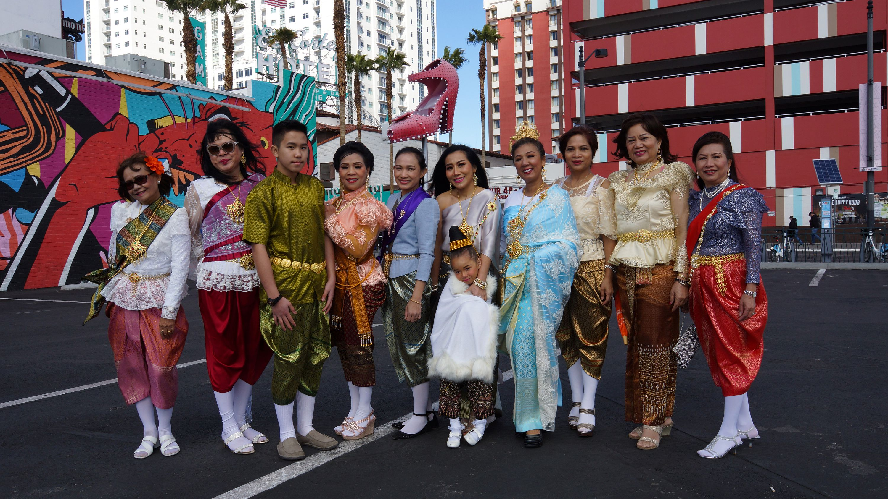 Thai Community in Downtown Las Vegas Fremont Street during the 2019 Chinese New Year Parade.